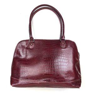 Dark Red Faux Crocodile Leather Laptop Travel Bag